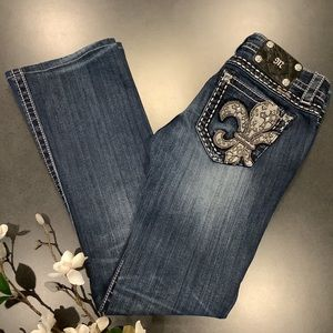 Miss Me Signature-Rise Boot Cut Embellished Jeans